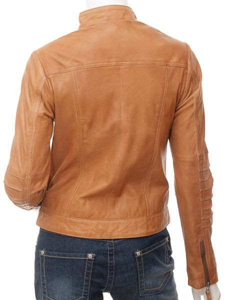 Women's Stand Collar Tan Biker Leather Jacket: Walton