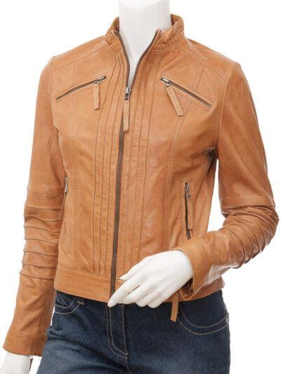 Womens Stand Collar Tan Biker Leather Jacket
