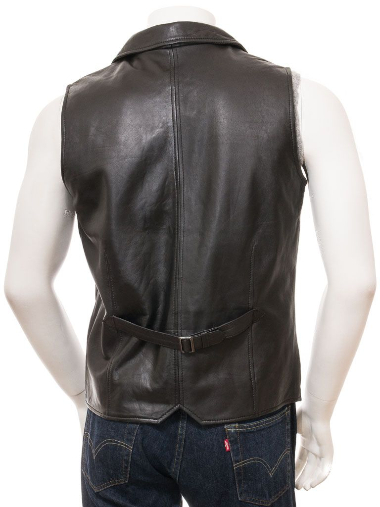 Elegant Black Leather Waistcoat for Men: Leigh