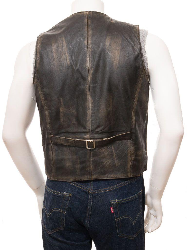 Black Vintage Style Leather Waistcoat for Men: Clinton