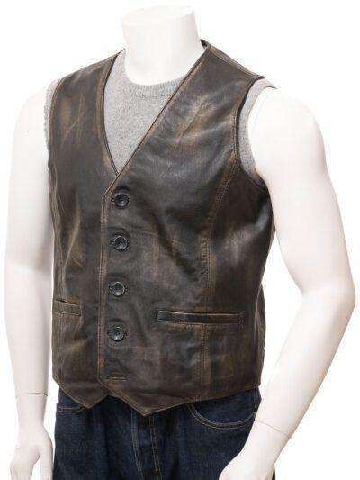 Black Vintage Style Leather Waistcoat for Men