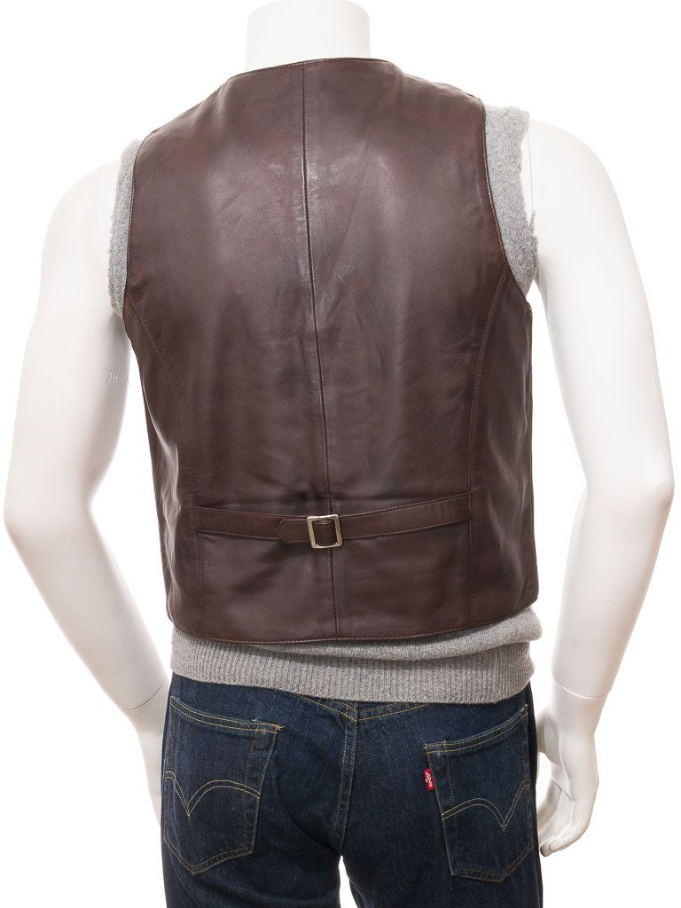 Dark Brown Leather Waistcoat for Men: Matapu