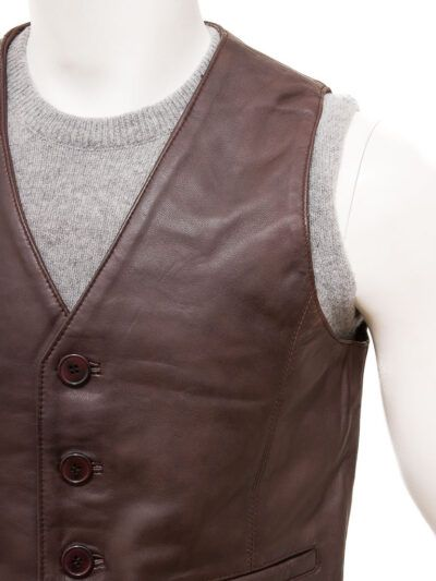 Dark Brown Leather Waistcoat for Men