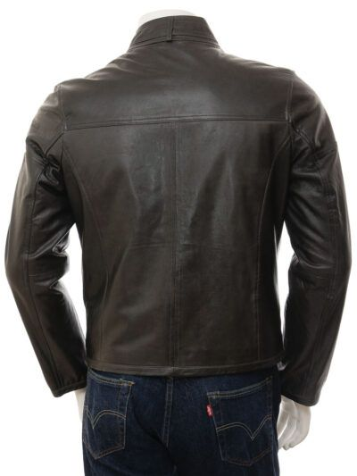 Mens Black Cafe Racer Leather Jacket