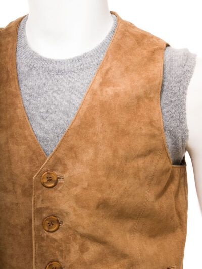 Tan Suede Leather Waistcoat for Men