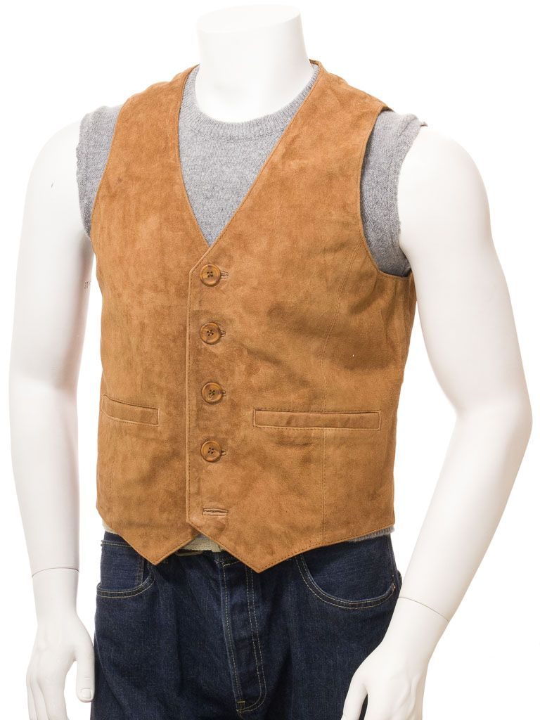 Tan Suede Leather Waistcoat for Men: Wellington