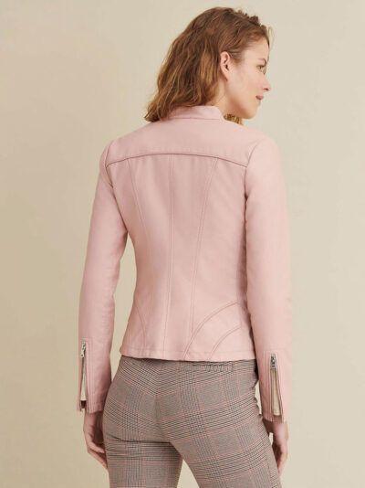 Womens Baby Pink Sheepskin Biker Leather Jacket