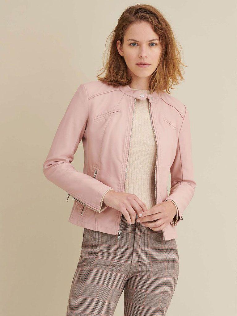 Women's Baby Pink Biker Leather Jacket: Allanton