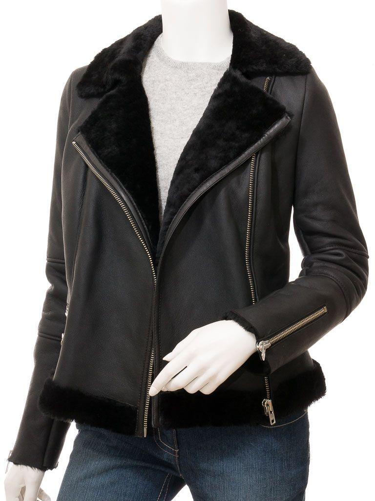 Women's Black Biker Faux Fur Leather Jacket: Auckland