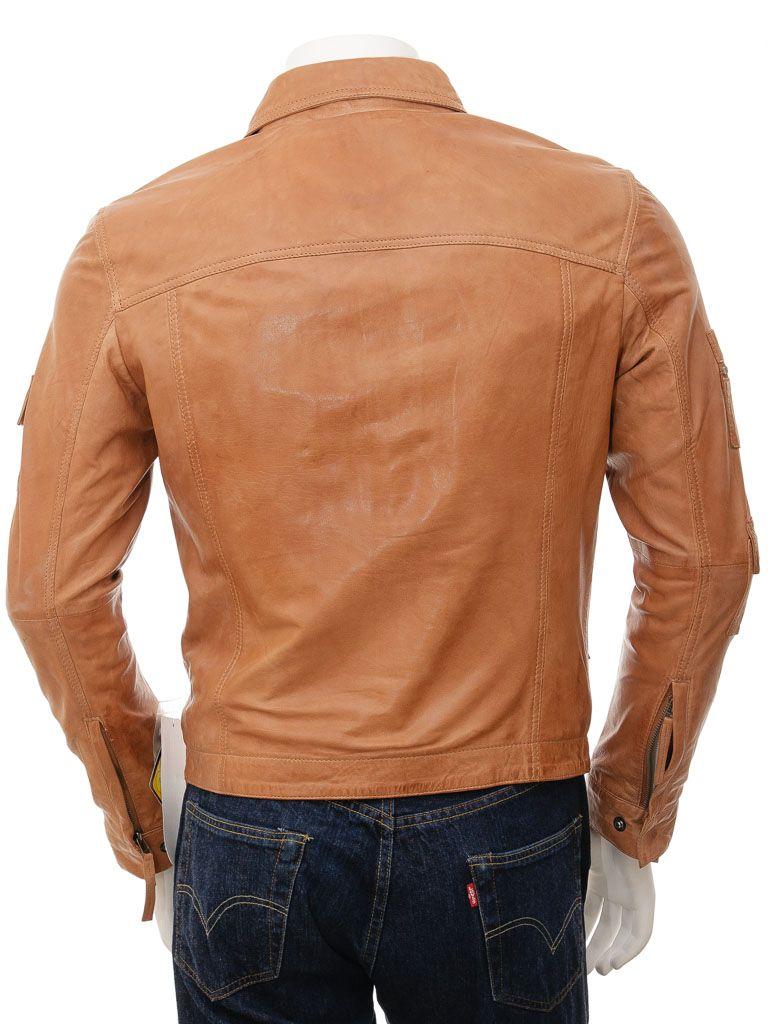 Men's Shirt Collar Leather Jacket in Tan: Invercargill