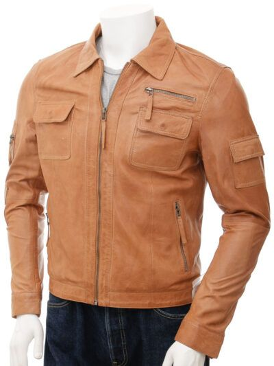 Mens Shirt Collar Leather Jacket in Tan
