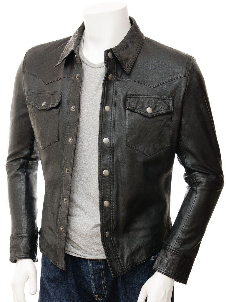 Mens Shirt Style Black Biker Leather Jacket: Rotorua