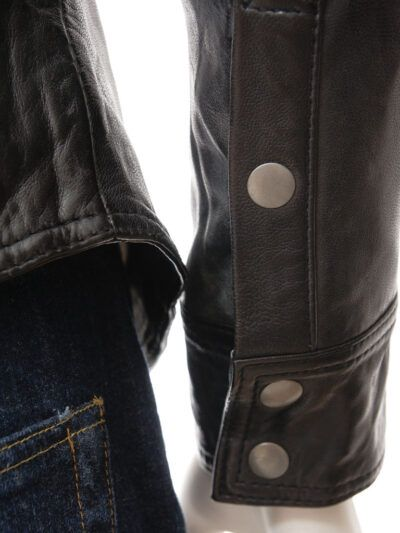 Mens Shirt Style Black Biker Leather Jacket