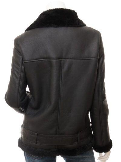 Womens Black Faux Fur Biker Leather Jacket