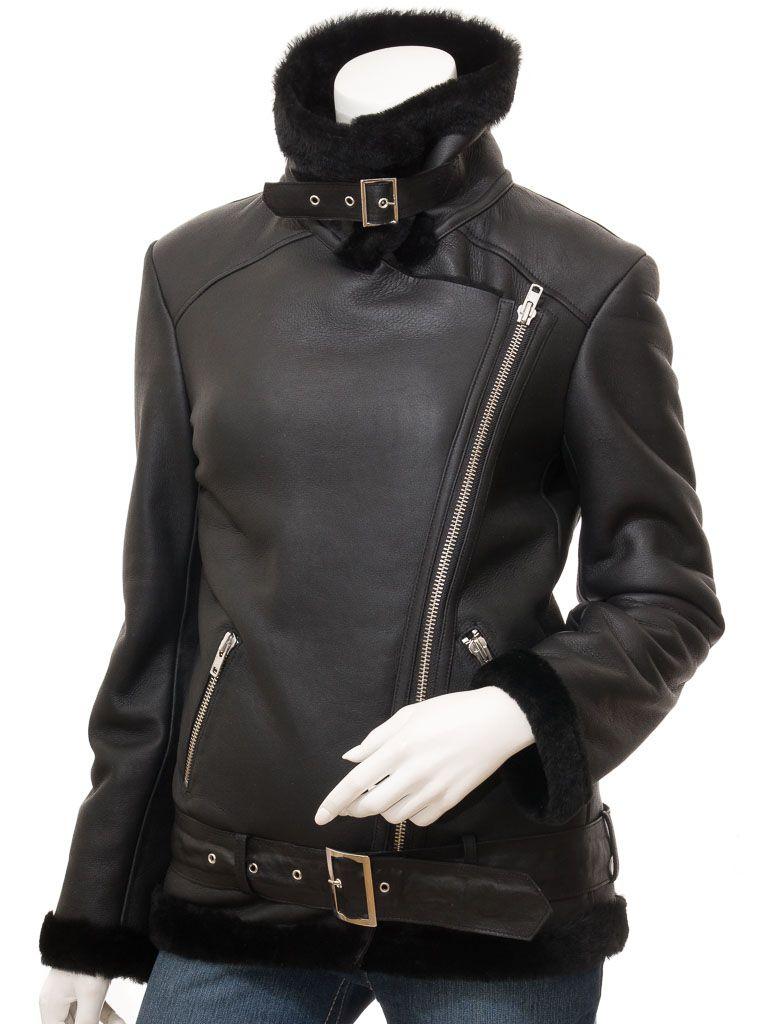 Women's Black Faux Fur Biker Leather Jacket: Tauranga