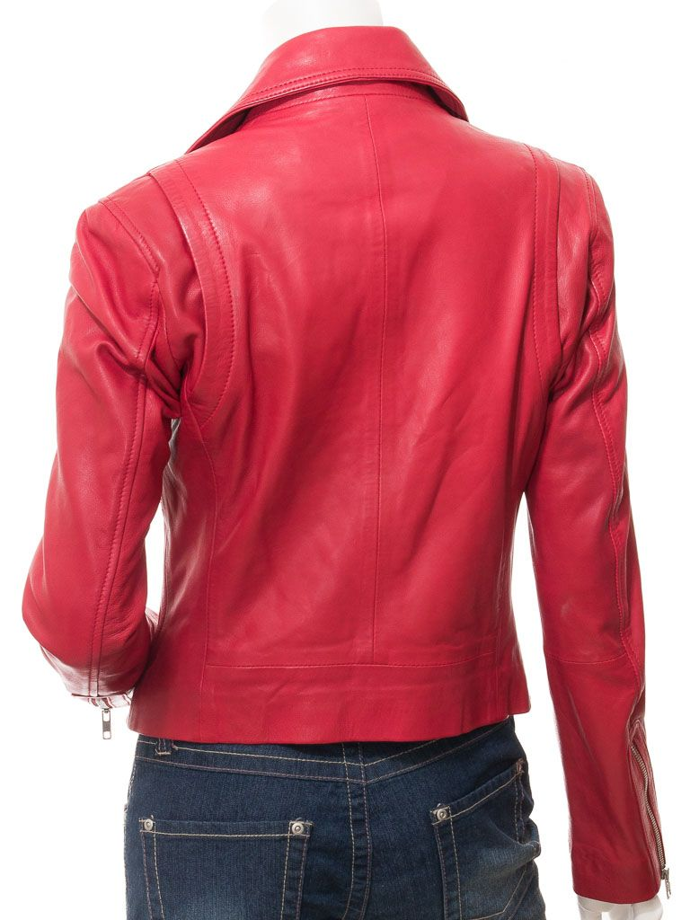Women's Red Leather Classic Biker Jacket: Greymouth