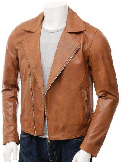 Tan Biker Leather Jacket For Men