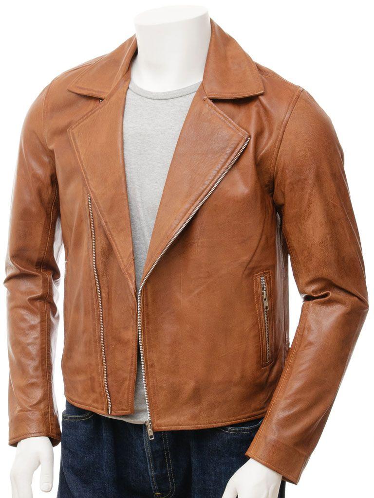 Tan Biker Leather Jacket For Men: Napier